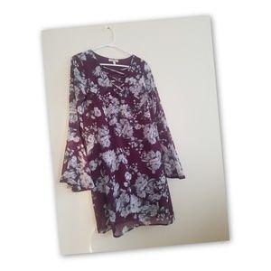 Purple&Greys-Floral Dress Breathable Flair Sleeves